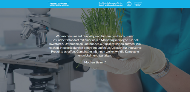 Landingpage der Marketingkampagne Mehr Zukunft Potsdam / Potsdam-Mittelmark